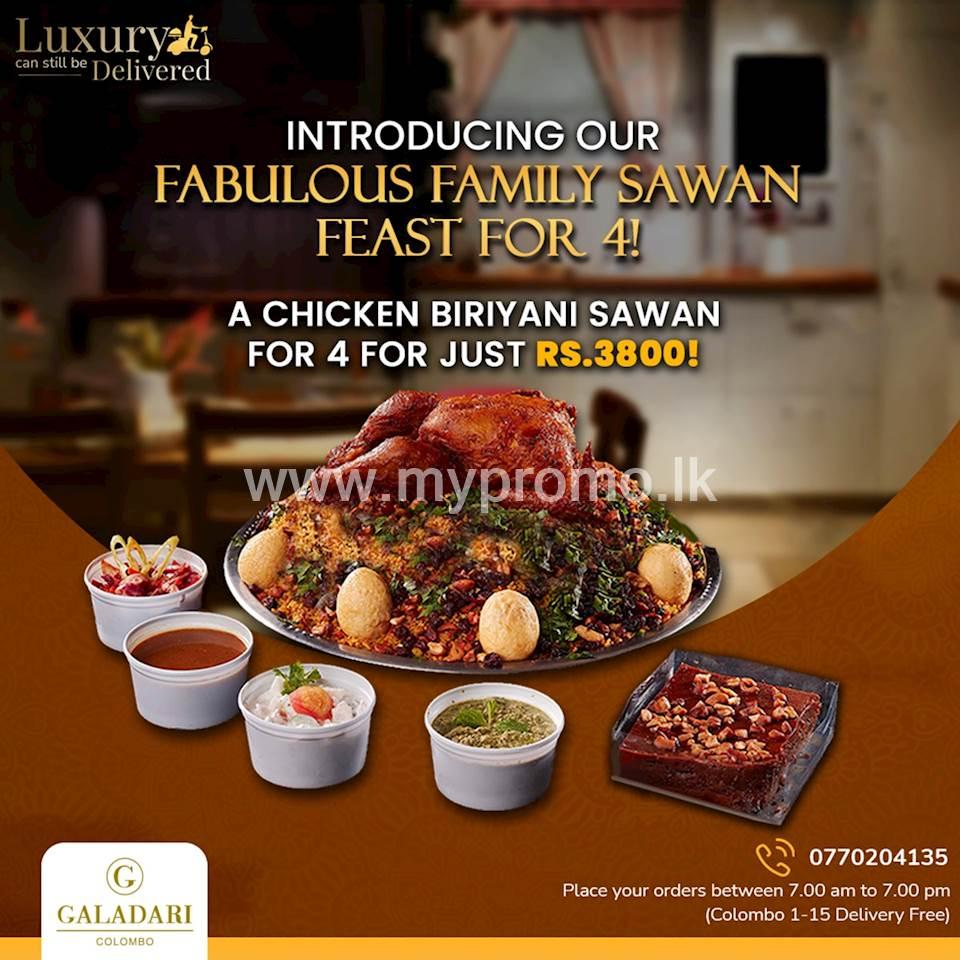 Chicken Biriyani Sawan for 4 for just LKR.3800 at Galadari Hotel