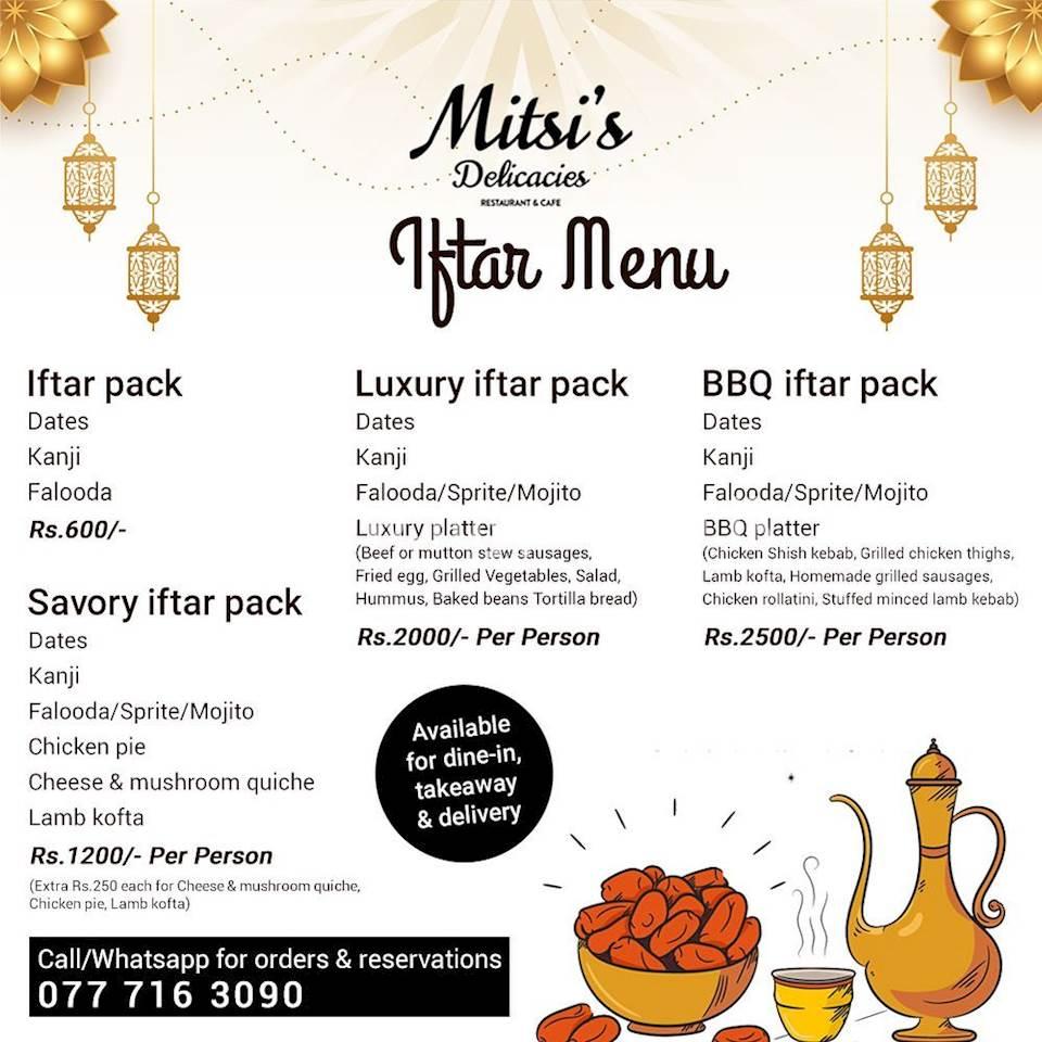 Iftar Menu at Mitsis Delicacies