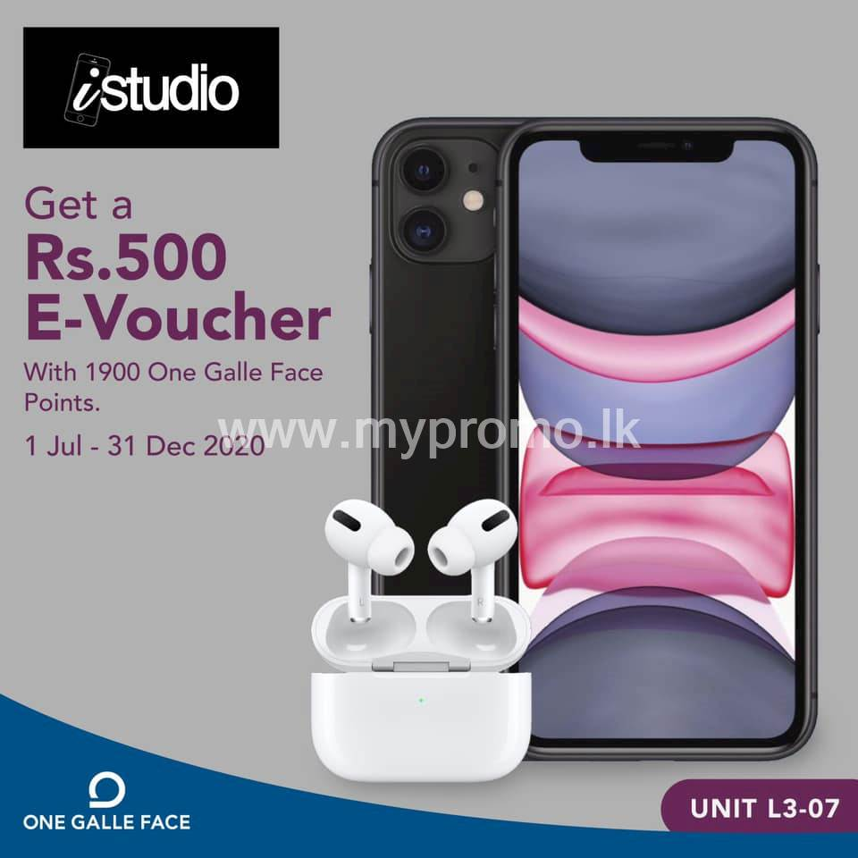 Redeem 1900 One Galle Face points and get a Rs. 500 E-Voucher from istudio for your tech fix!