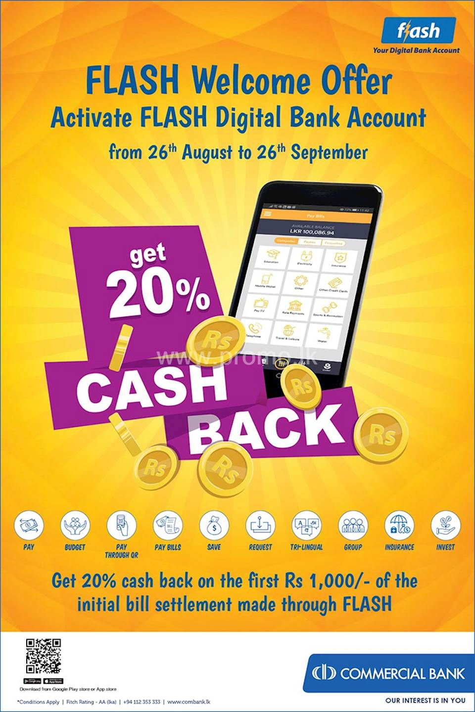 Get 20% Cash Back When Activate Commercial Bank Flash Digital Bank Account
