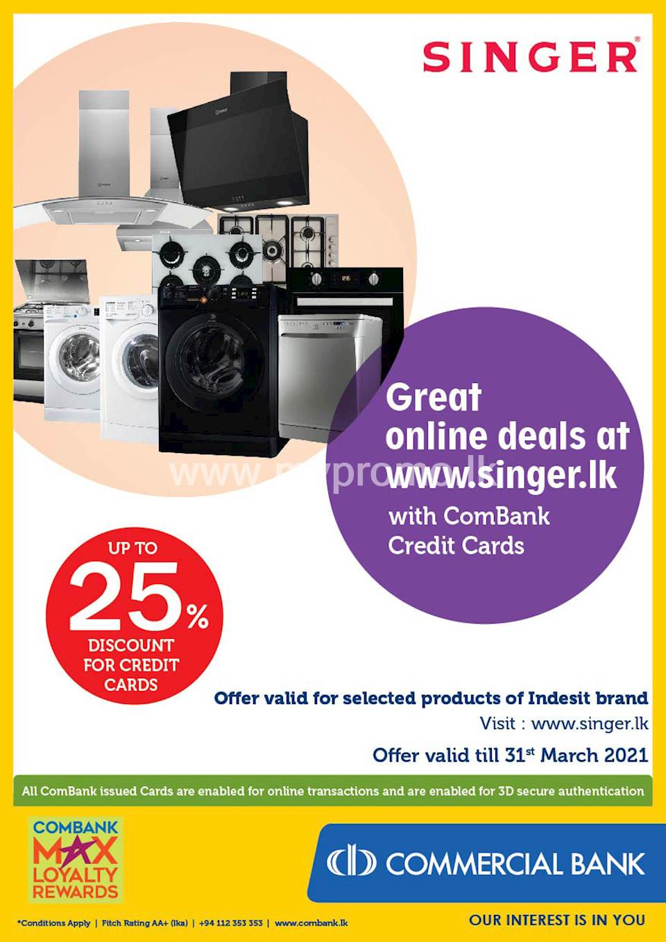 Great online deals at www.singer.lk with ComBank Credit Cards