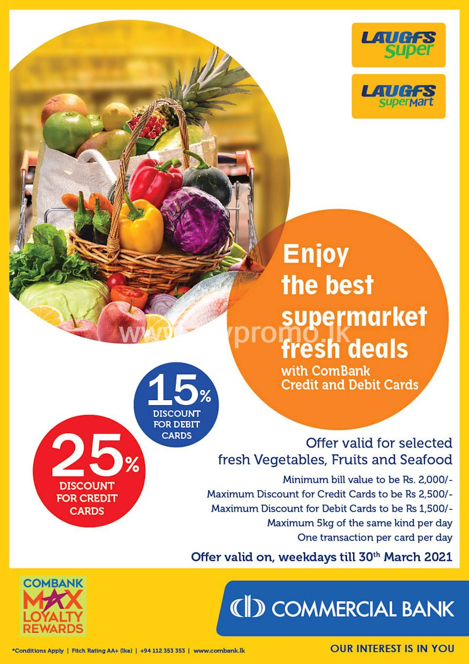 Enjoy up to 25% Discount for ComBank Credit and Debit Card at LAUGHFS Supermarket