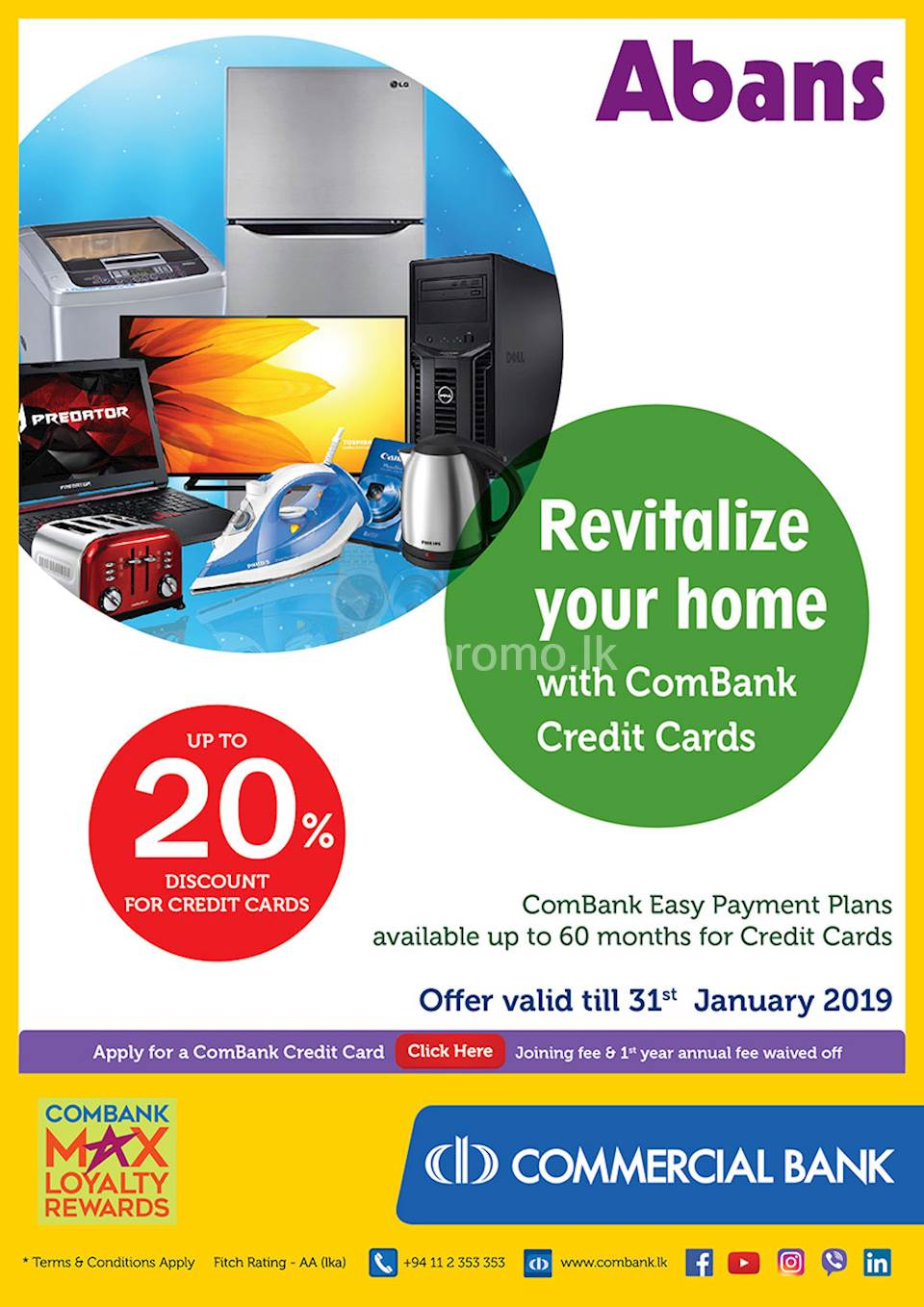 Revitalize your home with ComBank Credit Cards.