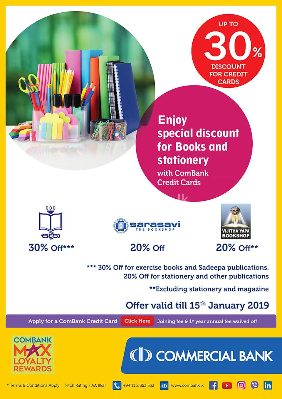 Enjoy special discount for books and stationery with ComBank Credit Cards.