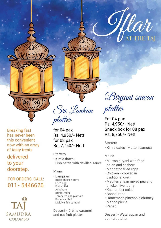 Iftar Menu at Taj Samudra - Sri Lankan platter and Biryani Sawan platter menu