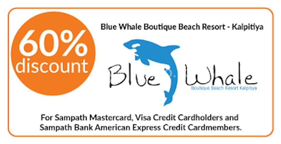 60% discount on double and triple room bookings on full board, half board stays at Blue Whale Boutique Beach Resort, Kalpitiya for Sampath Bank Cards