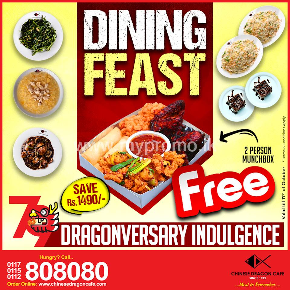 2 Person Munchbox Free (Save Rs. 1480) with Dining Feast at Chinese Dragon Cafe!