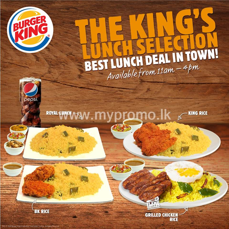 The Burger King's Lunch Selection
