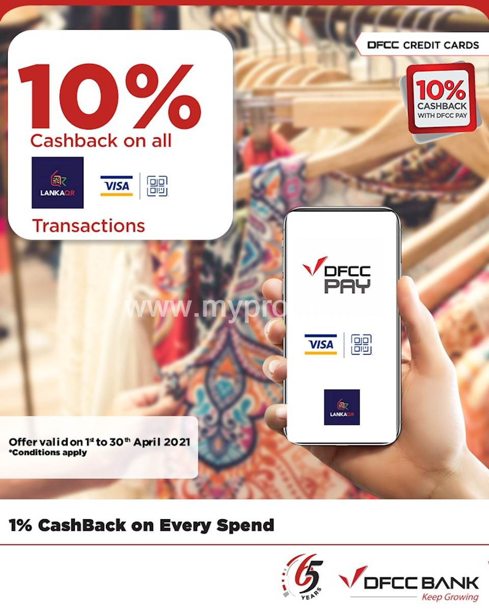 Enjoy 10% cashback on QR transactions through the DFCC Pay App!