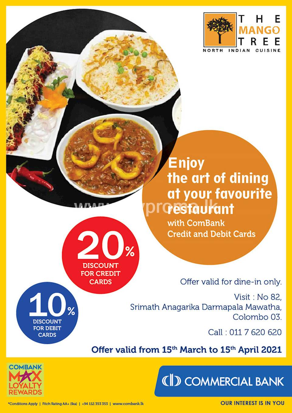 Enjoy up to 20% discount for ComBank Credit and Debit cards at The Mango Tree