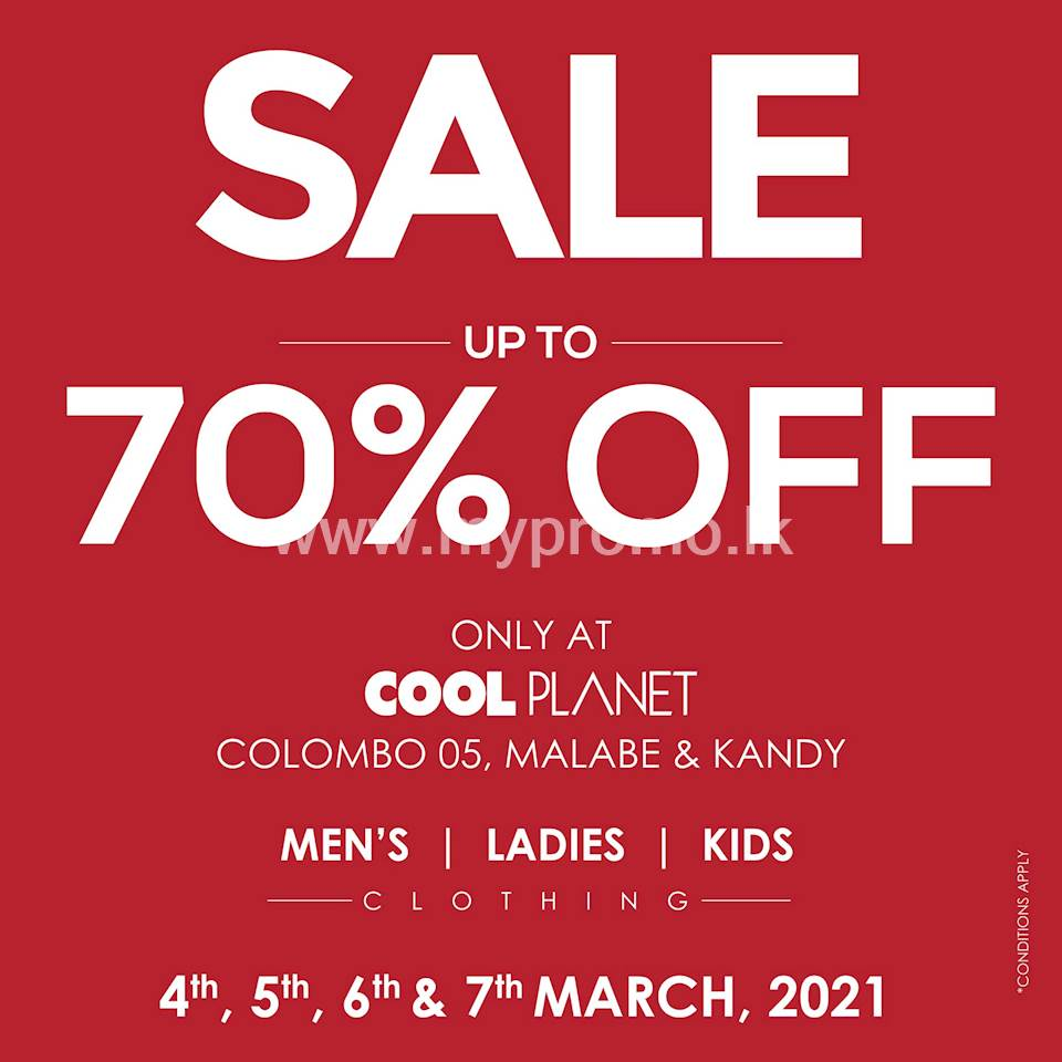 Enjoy up to 70% OFF on Men's, Ladies & Kids Clothing at Cool Planet