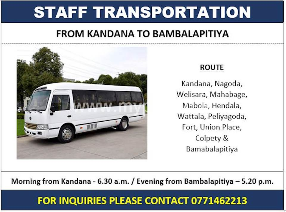 Staff Transport Service Kandana to Bambalapitiya