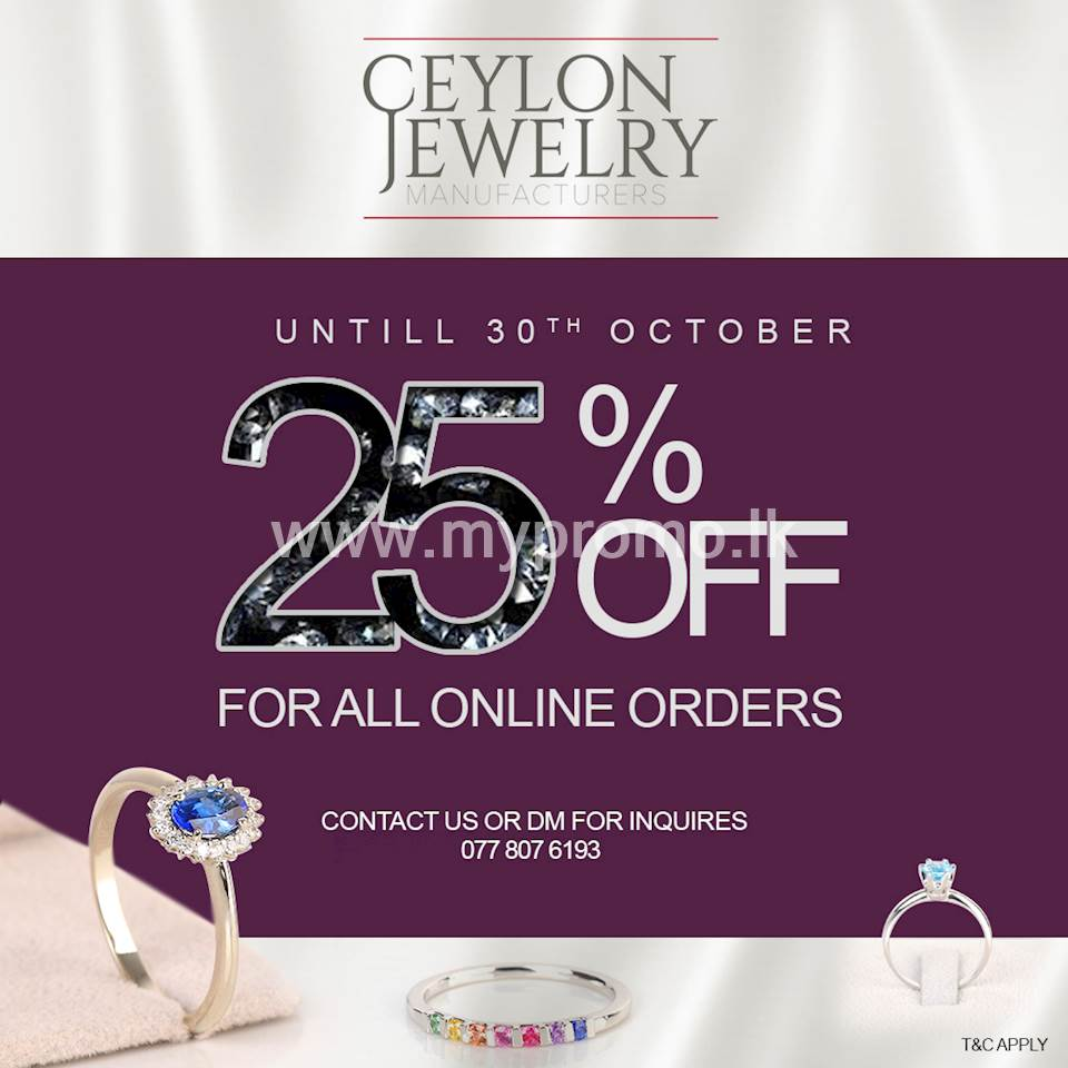 25% off on all Gold jewelry items at Ceylon Jewelry