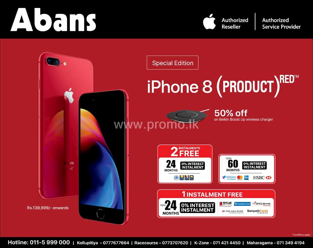 iPhone 8 and 8+ Red now only at Abans with Installment Plans