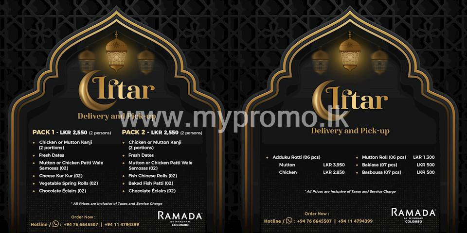Iftar Delivery and Pick up offer at Ramada Colombo