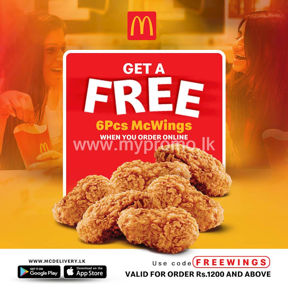 Get a FREE 6 pcs McWings when you order online at McDonald's