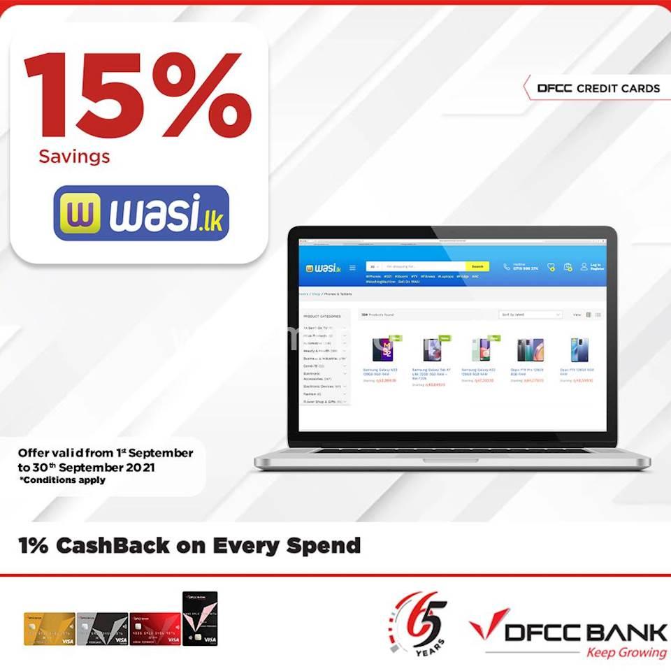 Enjoy 15% savings at wasi.lk with DFCC Credit Cards!