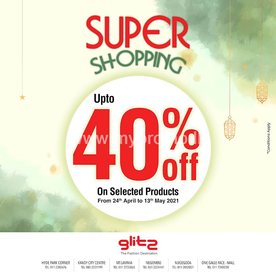 Up to 40% off on selected products at Glitz