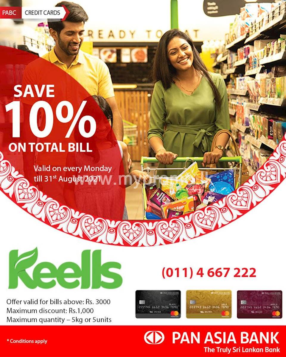 Get 10% off on your total bill at Keells store with Pan Asia Bank Credit Cards