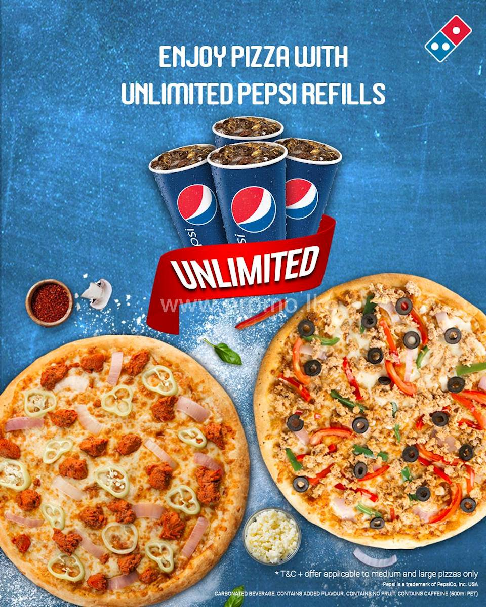 Taste your favorite Domino's Pizza with unlimited Pepsi refills