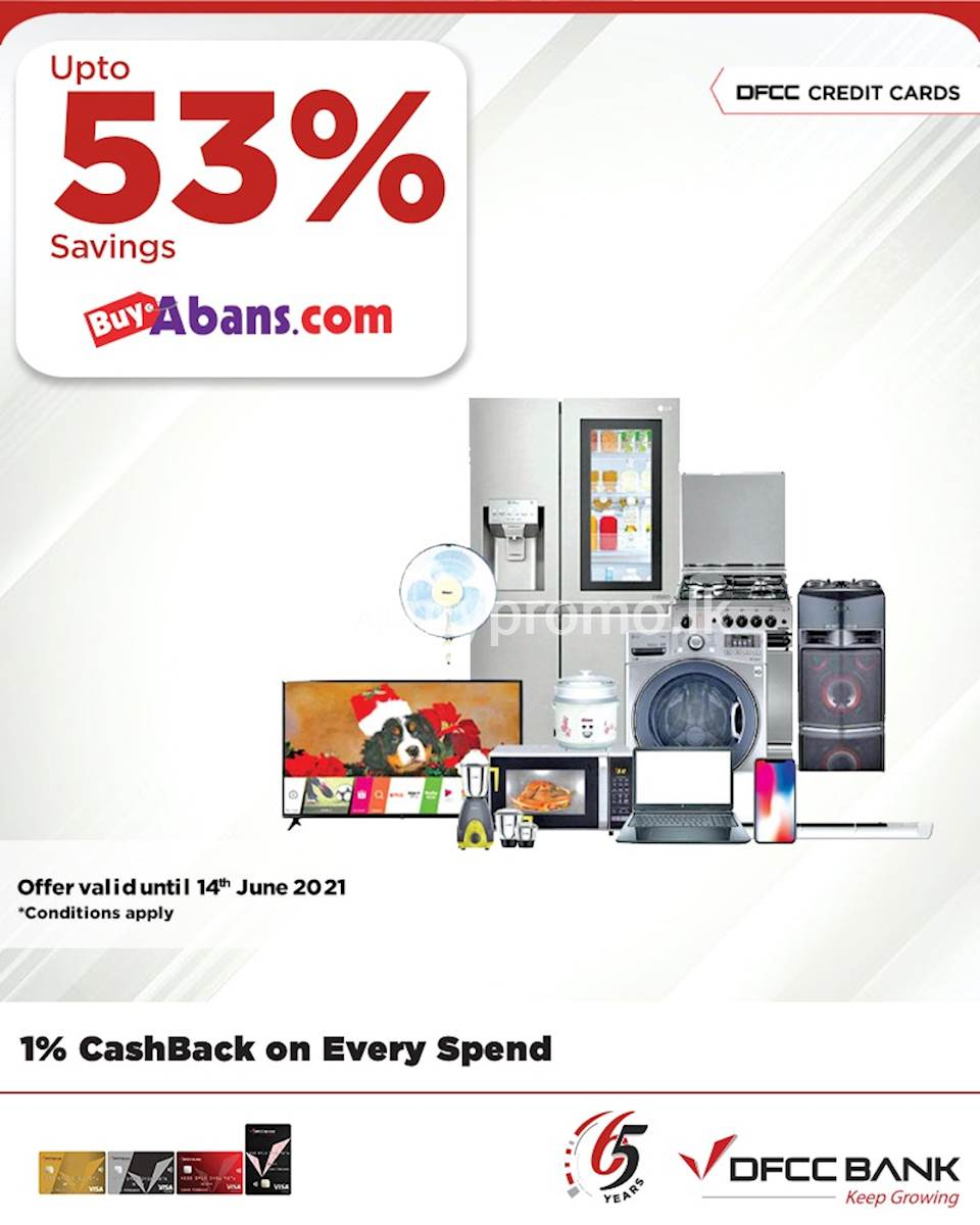 Enjoy up to 53% savings on selected products at www.buyabans.lk with DFCC Credit Cards!