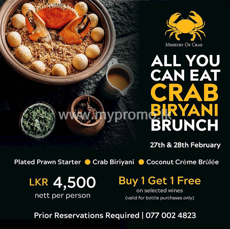 All-You-Can-Eat Crab Biryani Brunch at Ministry of Crab