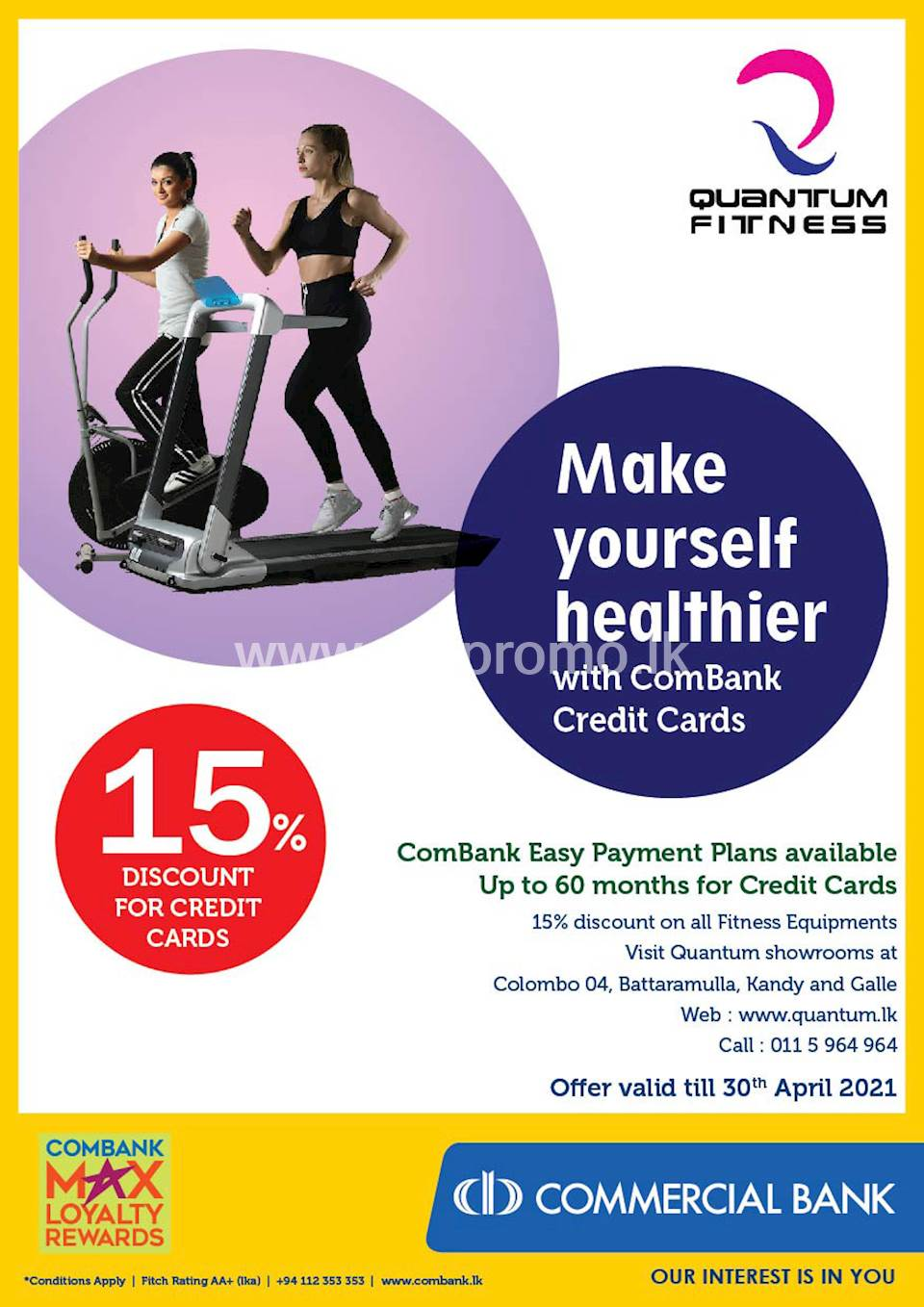 Enjoy 15% Discount for ComBank Credit Cards at Quantum Fitness