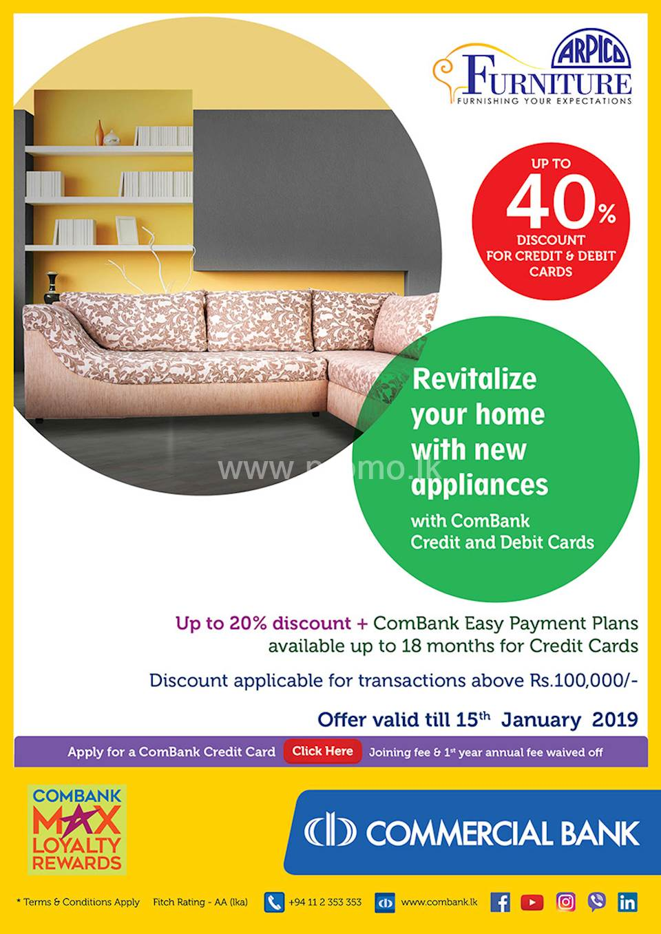 Get up to 40% Discount for Combank Cards at Arpico Furniture