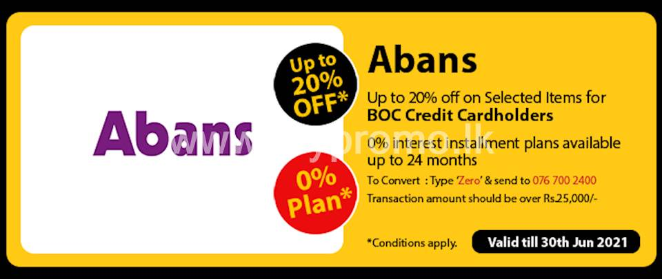 Get up to 20% Off on Selected Items at Abans for BOC Credit Cards