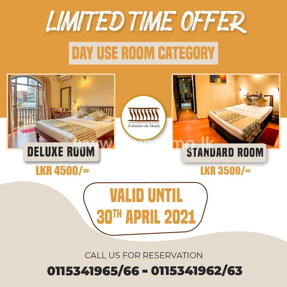 Day use room category at Colombo City Hotel