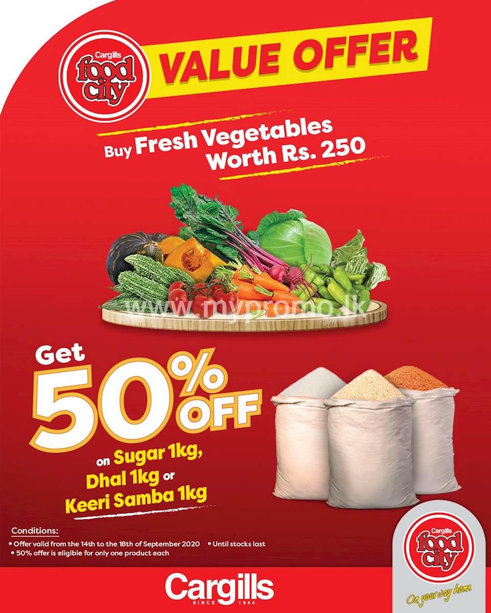 Buy fresh vegetables worth Rs. 250 and get 50% off on 1KG of sugar, dhal or keeri samba at Cargills Food City