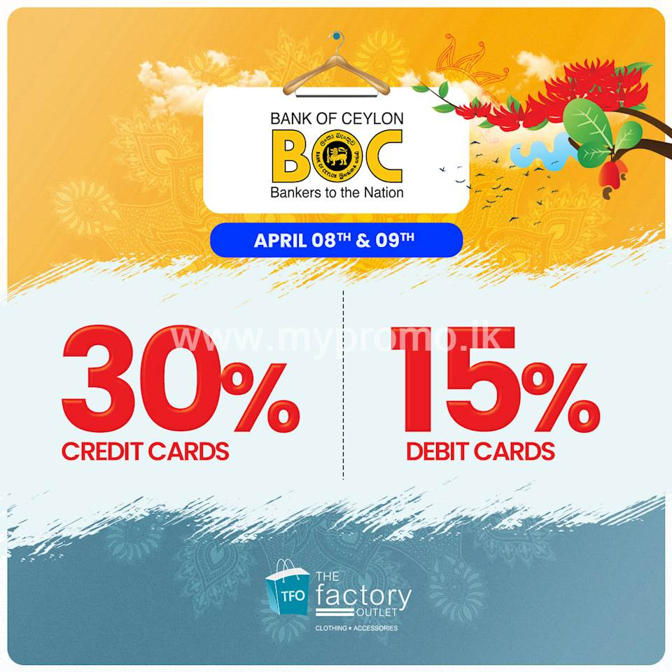 Enjoy up to 30% off for BOC Cards at The Factory Outlet