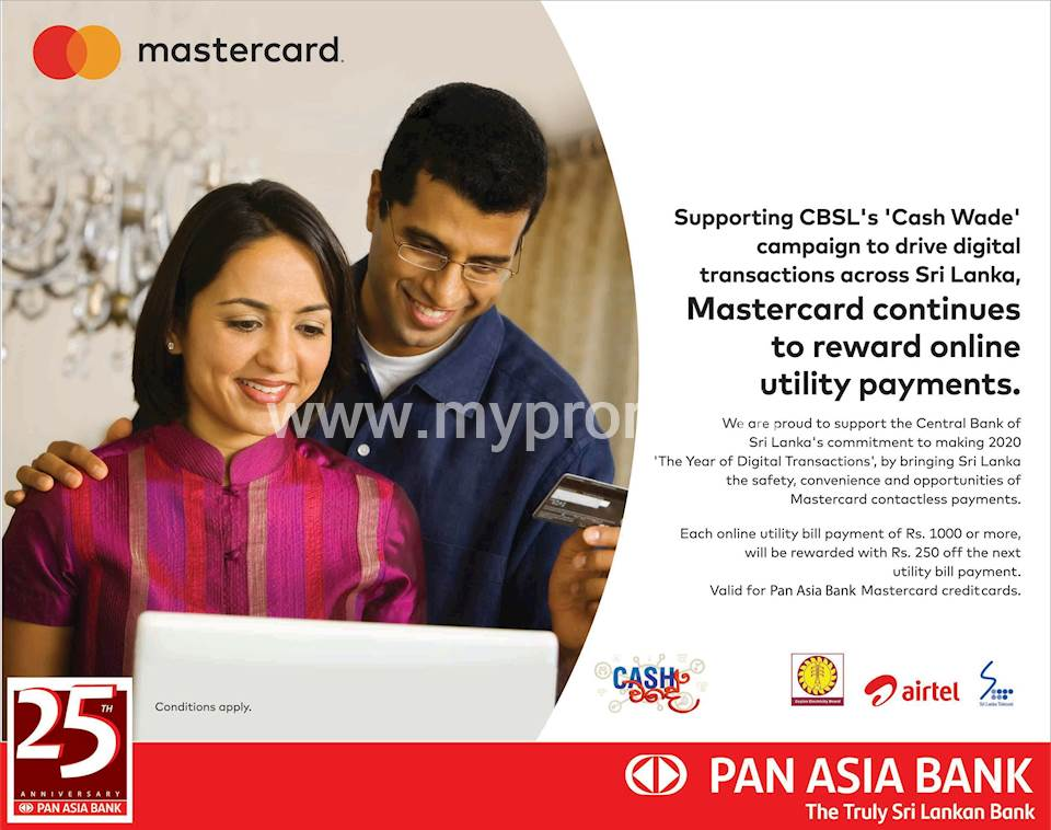 Rs.250 discount on your next utility bill when you pay with Pan Asia Bank Mastercard Credit Card