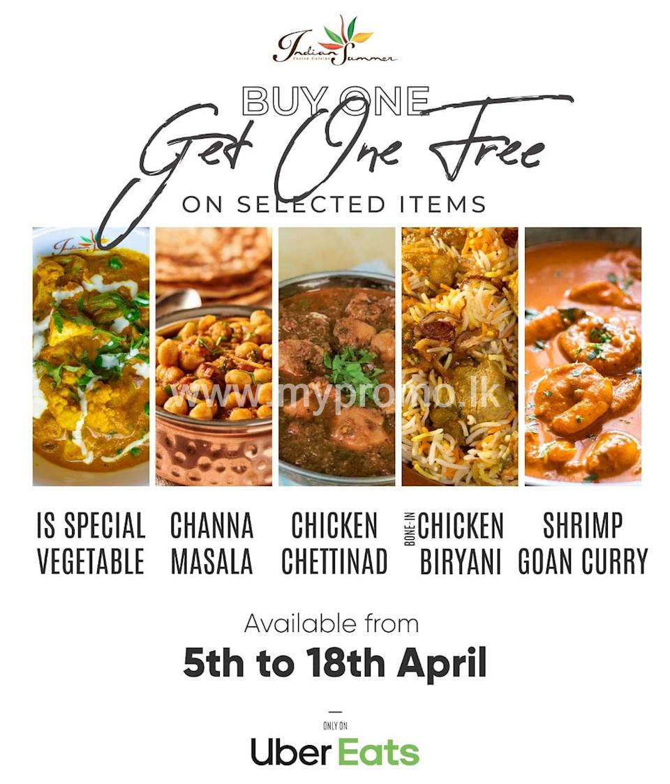 Buy One Get One free on Selected Items at Indian Summer on Uber Eats