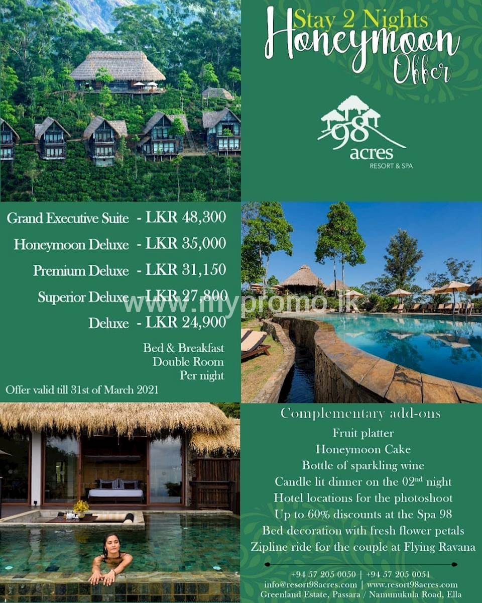 Stay 2 Nights Honeymoon Offer at 98 Acres Resort and Spa