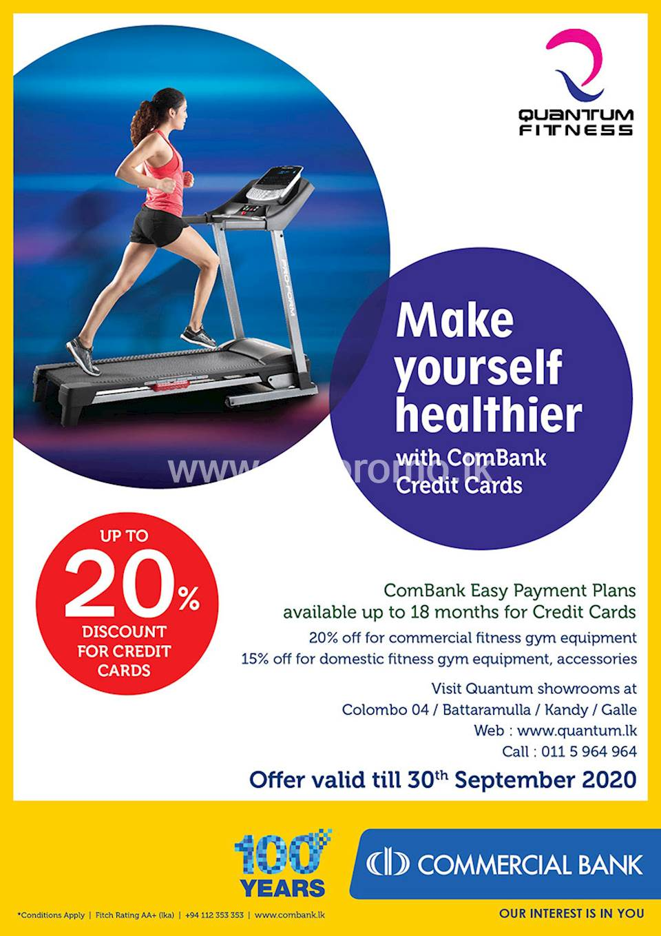 Up to 20% discount with ComBank Credit Cards at Quantam fitness
