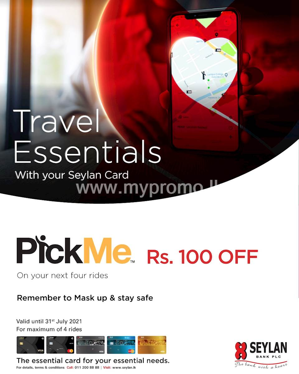 Get Rs.100 OFF on 4 rides with your Seylan Credit or Debit Card on PickMe