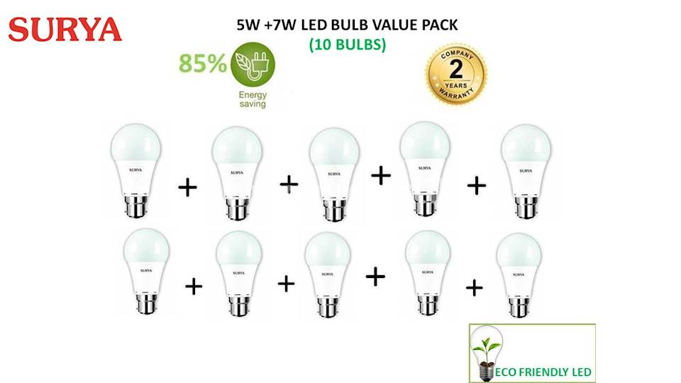 Surya 5W + 7W LED (Pack of 10 Bulbs) Value Pack