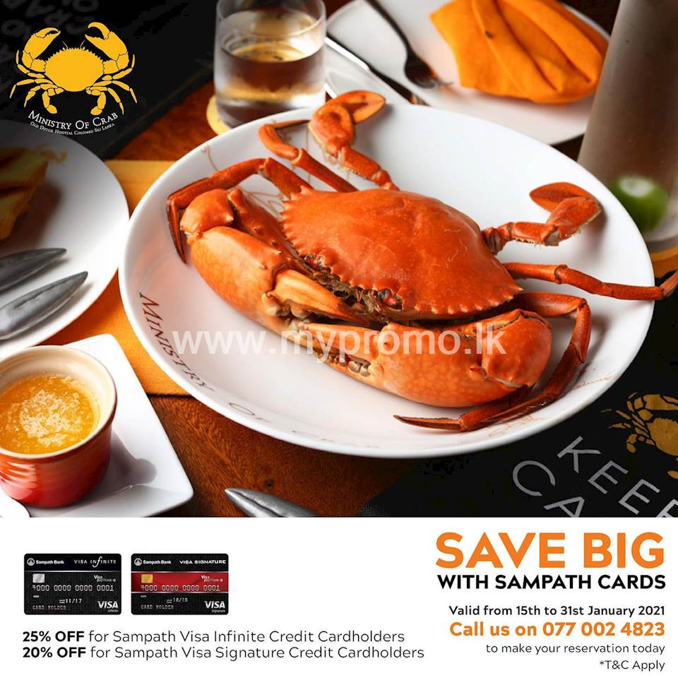 Enjoy up to 25% Off with your Sampath Bank Cards at MInistry of Crab