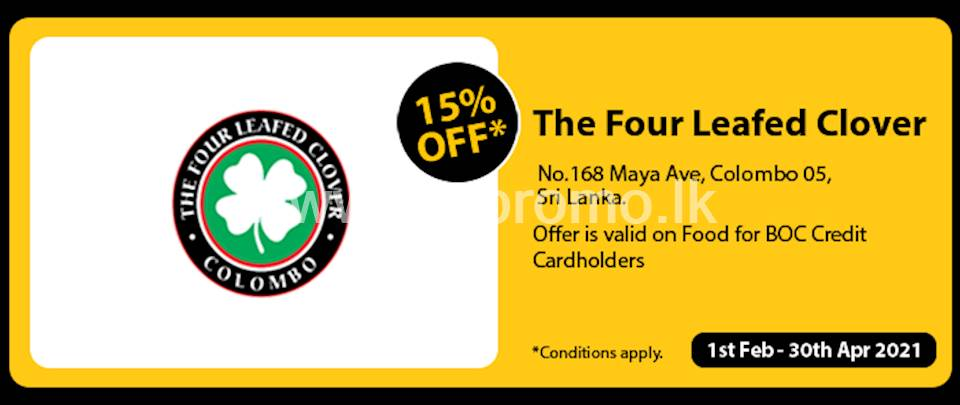 Get 15% Off at The Four Leafed Clover for BOC Credit Cards