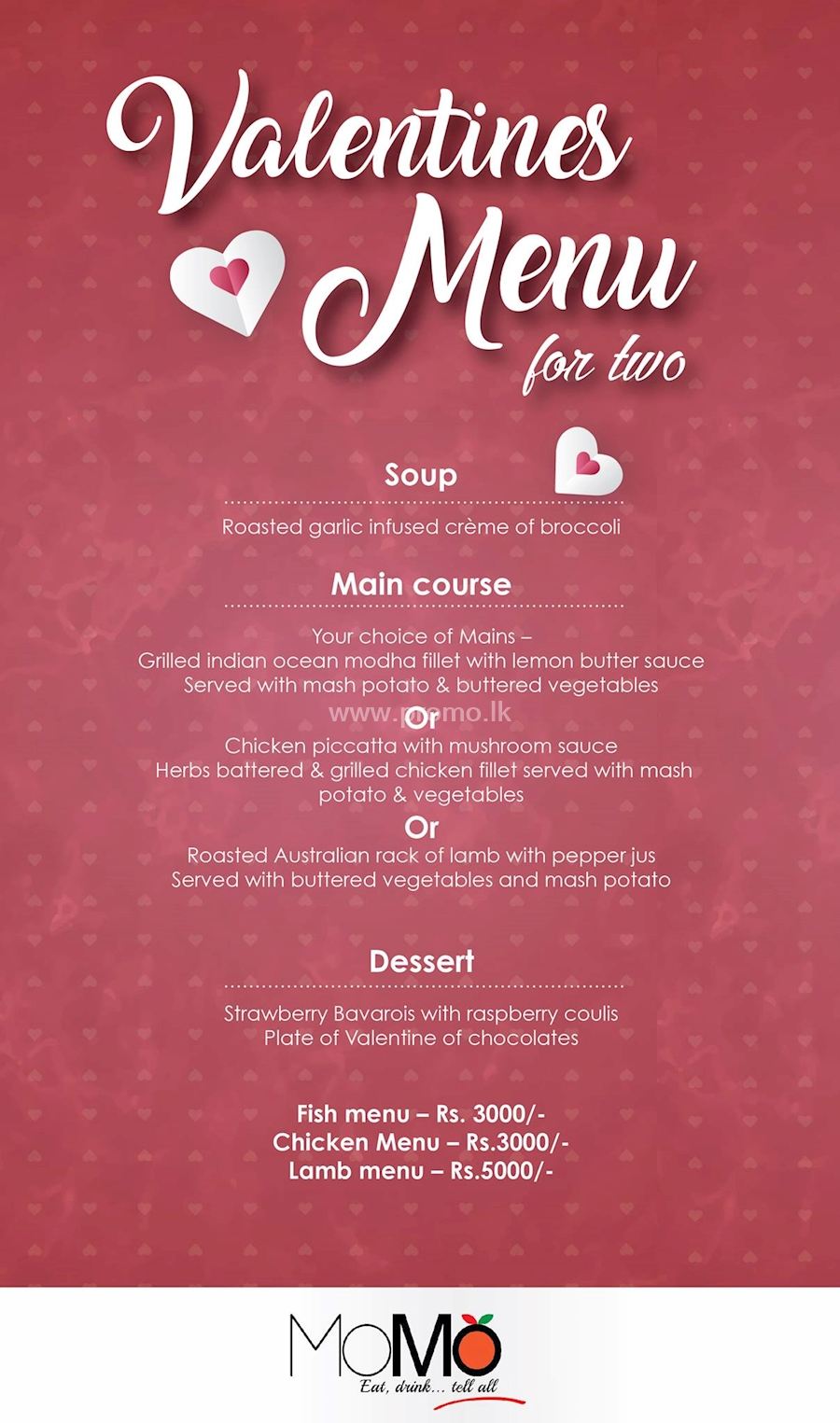 Valentines Menu for two at MoMo Restaurant