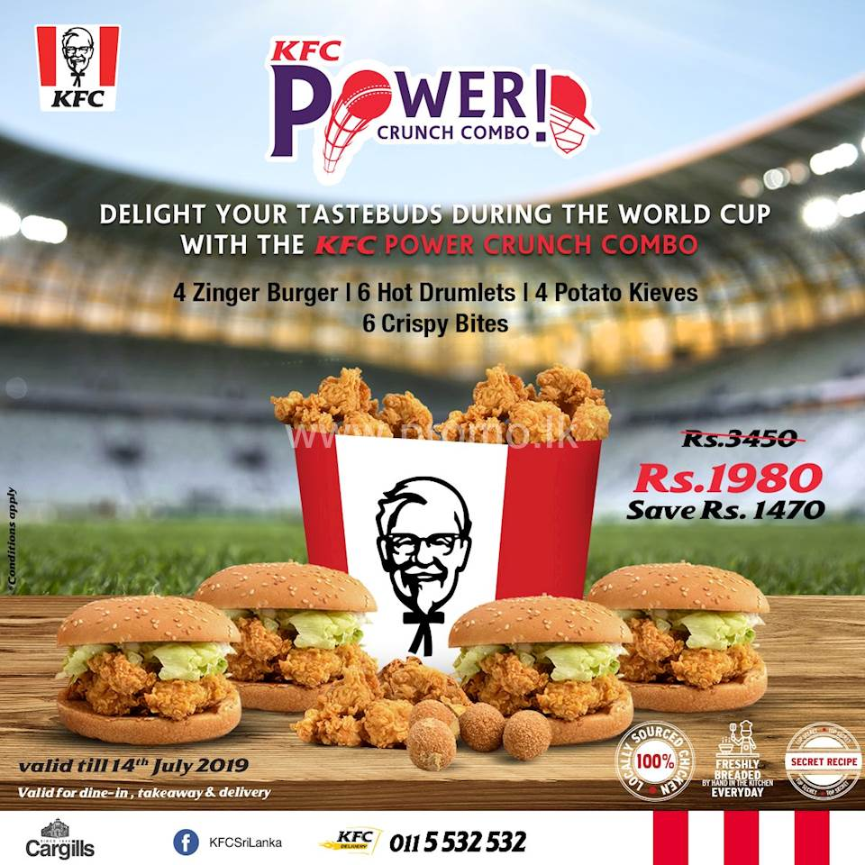 Delight your tastebuds with the much-needed power kick with KFC Power Crunch Combo! Get 4 Zinger Burgers, 6 Hot Drumlets, 4 Potato Kieves and 6 Crispy bites for only Rs. 1,980! Order now and SAVE Rs. 1,470!