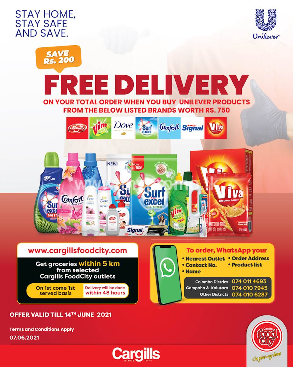 Get free delivery right to your doorstep when you order your favourite Unilever products worth Rs. 750 from Cargills FoodCity!