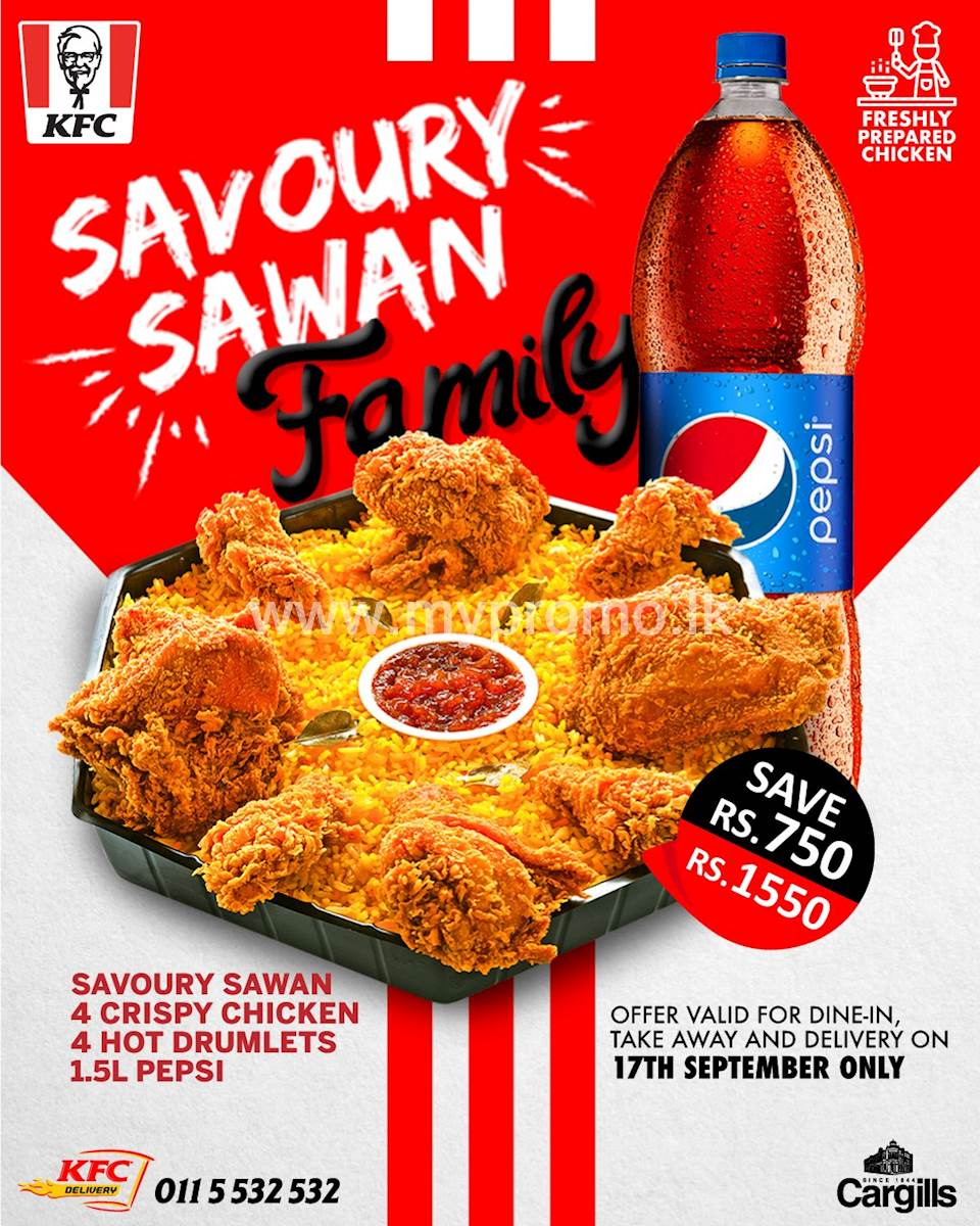 Savoury Family Sawan with 4 drumlets and 1.5ltr Pepsi for just Rs. 1,550 at KFC Sri Lanka