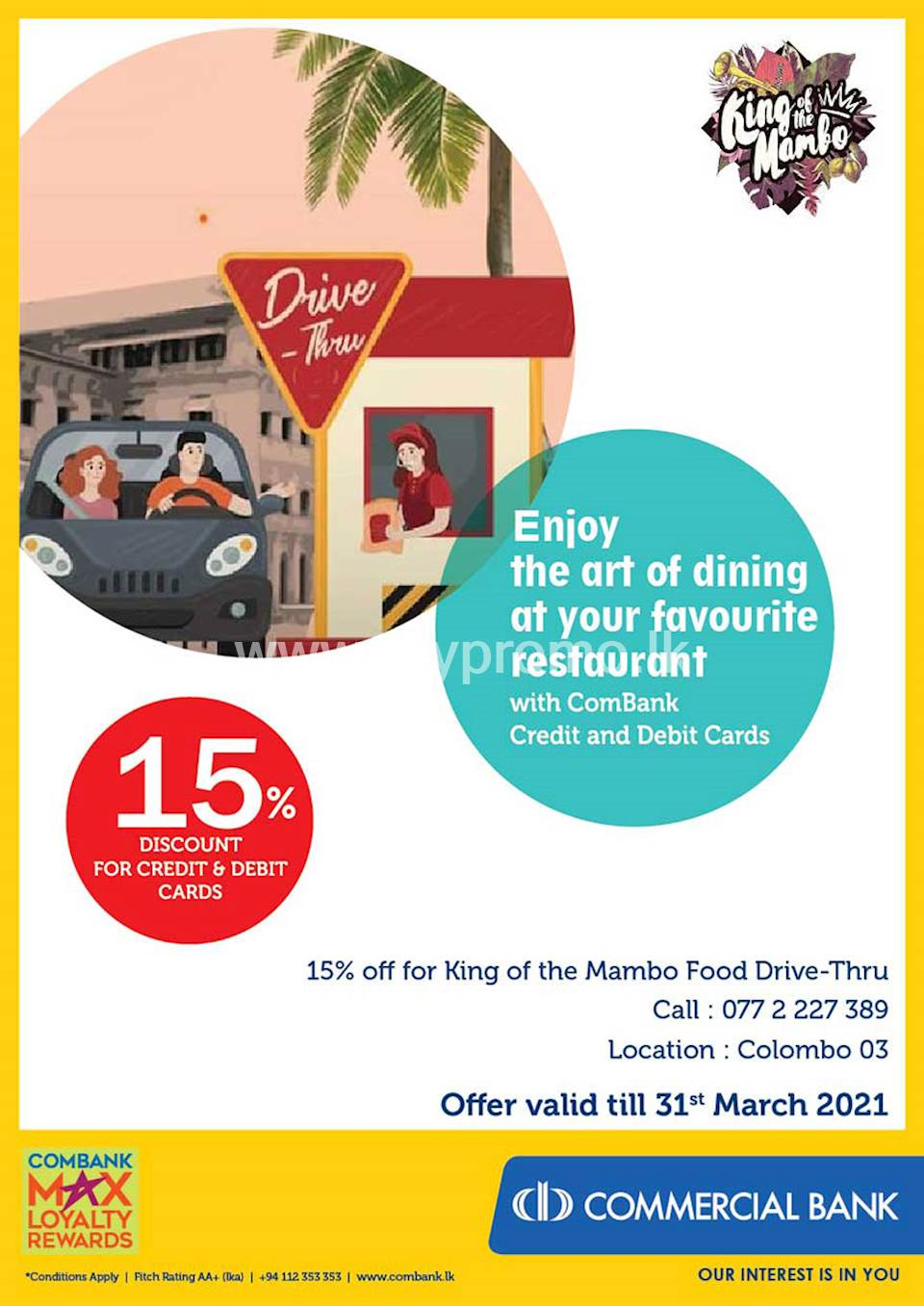 Enjoy 15% Discount for ComBank Credit and Debit Cards at King of the Mambo