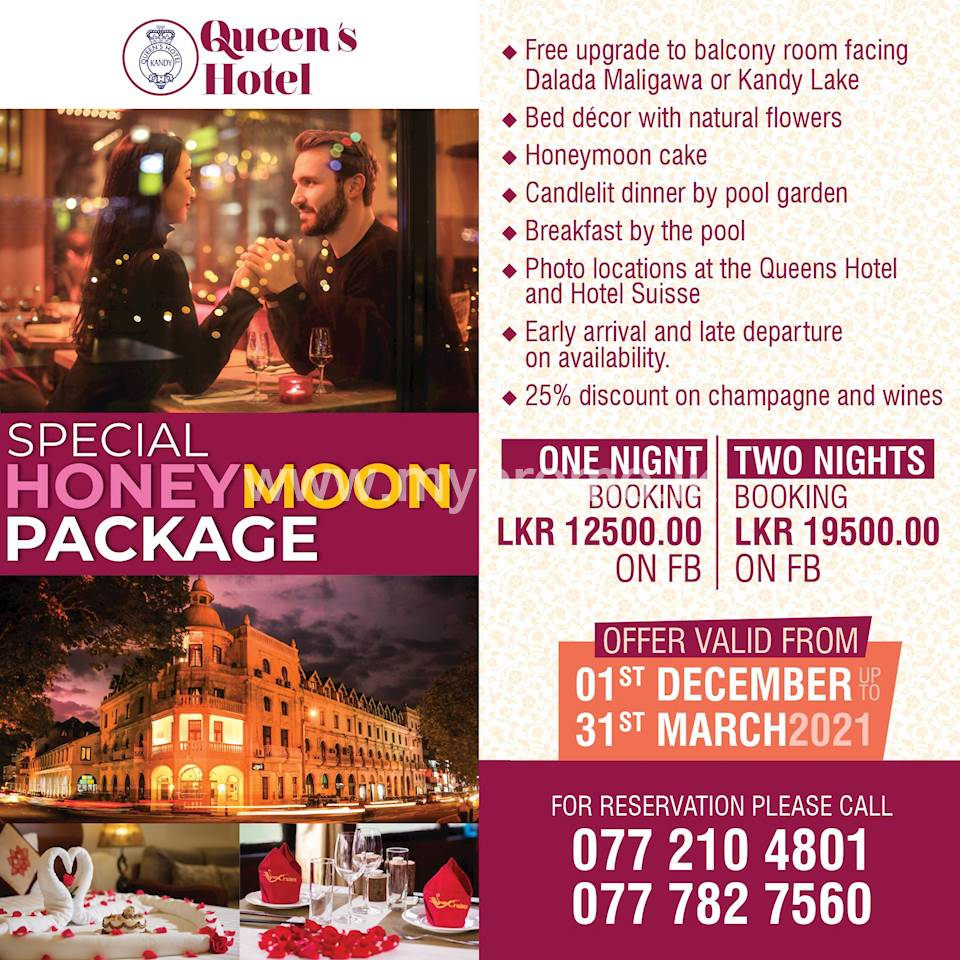 Special Honeymoon Package at Queen's hotel Kandy