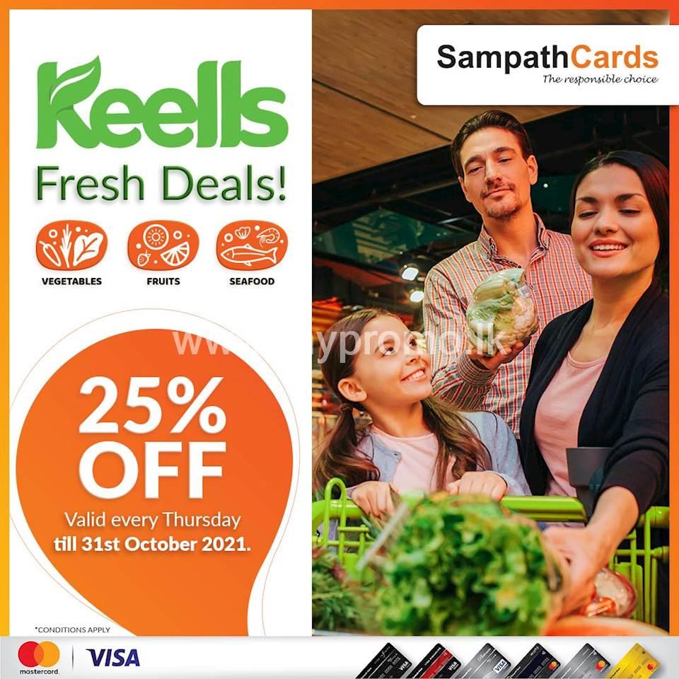 25% off on Fresh Vegetables, Fruits & Seafood at Keells Outlets for all Sampath Mastercard & Visa Credit Cardholders