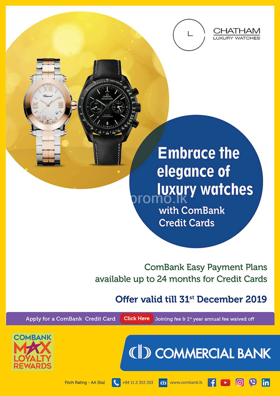 Embrace the elegance of luxury watches with ComBank Credit Cards.