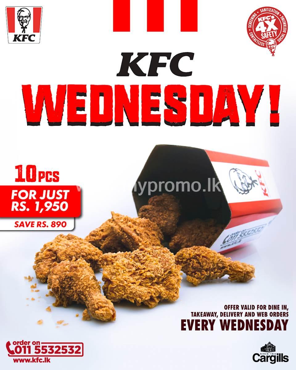KFC Sri Lanka 10 PC Crispy Chicken Bucket On Wednesdays