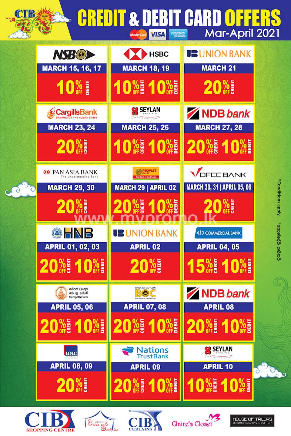 Avurudu 2021 Offers for Credit and Debit Cards at CIB Shopping Center